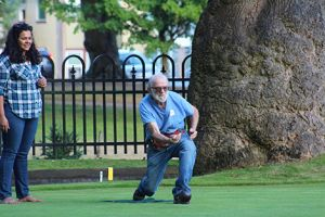 Fun and friendly competition in the grassy game of lawn bowling