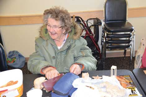 Margaret Imhoff is one of the woodcarvers who meet regularly at Puyallup Activity Center. (Joan Cronk/Senior Scene)