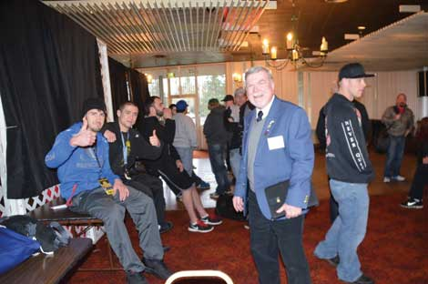 Leading Knight George Jaquish of the Puyallup Elks (second from right) welcomed members of Bully Busters to an event the anti-bullying group staged at the lodge. (Joan Cronk/Senior Scene)