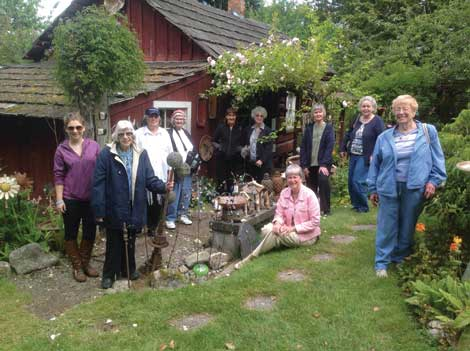 Stopping at Crow Valley Pottery on Orcas Island were (from left) Rebecca Ackerman, Audrey Stacy, Pam Halsan, Catherine Gleva, Marcia Stulgis, Judy Neslund, Linda Finch, Sharon Wolfe, Irene Fluhrer and Stella Jones.