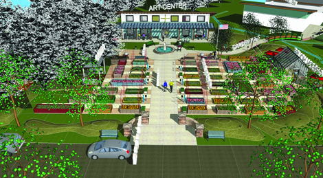 This artist's rendering shows the paths and garden areas of Tacoma Lutheran Retirement Community's new Edwards Plaza.