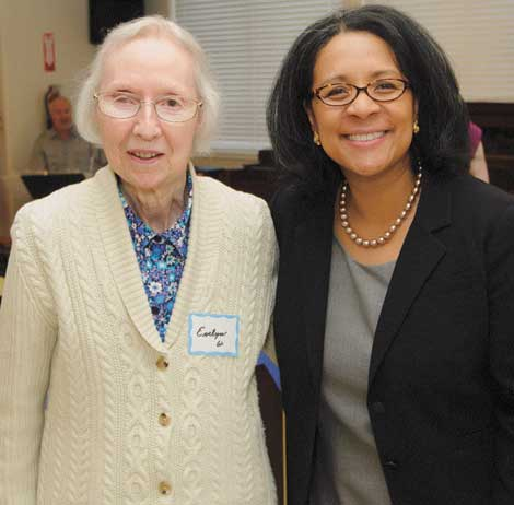 Evelyn Wright (left) and other Senior Companion volunteers were honored by Tacoma Mayor Marilyn Strickland during a recognition party hosted by Lutheran Community Services Northwest.
