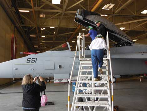Up-close time with a Navy jet was part of an excursion hosted by Tacoma Metro Parks .