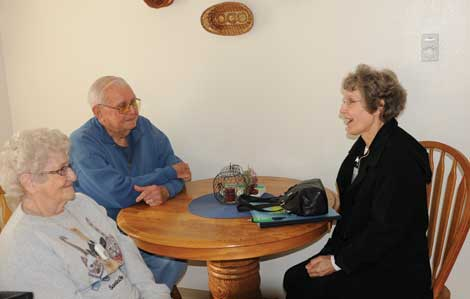 Doris and Robert Strong visit with Lisa Troyer, a case manager for Pierce County Aging and Disability Resources.
