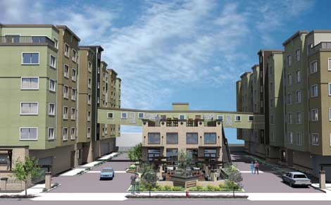 Architectural view of how SHAG apartments in Federal Way will look at the entrance.