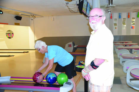 Jackie Frederick, who has been bowling since she was 25 years old, and Garry Ranck are among the senior regulars at Chalet Bowl. (Joan Cronk/for Senior Scene)