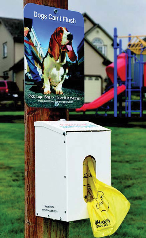 Pet waste stations like this one encourage Tacoma residents to clean up after their dogs. (City of Tacoma/courtesy photo)