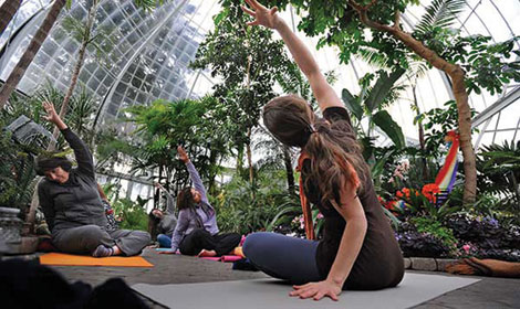"""Meditation sessions in the Seymour Botanical Conservatory in Tacoma are for all ages, from children to the elderly. """"Anybody can do this,"""" said Megan Zaback, who leads the twice-monthly gatherings. (Metro Parks/courtesy photo)"""