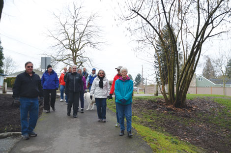Daffodil Valley Volkssport Association walkers take a walk each week on the Riverwalk Trail in Puyallup, starting at Veterans Park. An estimated 300 people walk the paved path along the Puyallup River each week. (Joan Cronk/for Senior Scene)