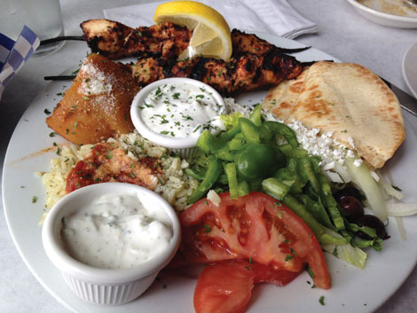 Giorgios Greek Cafe, located in downtown Puyallup, serves authentic Greek dishes.